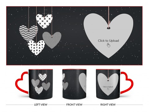 Heart Symbols Hanging In The Sky With Stars Background Design On Love Handle Dual Tone Red Mug