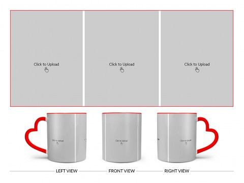 3 Equal Pic Upload Design For Any Occasions & Event Design On Love Handle Dual Tone Red Mug
