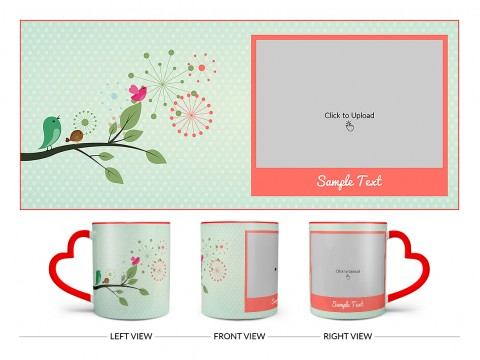 Birds On Tree Branch With Light Green Love Symbols Background Design On Love Handle Dual Tone Red Mug