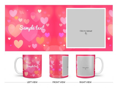 Heart Symbols With Dark Pink Background Design On Plain white Mug