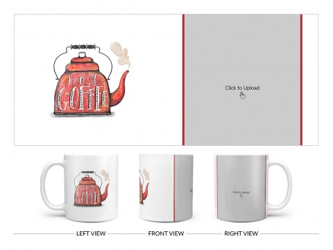 Coffee Jar With Hot Coffees Text For Coffee Lovers Design On Plain white Mug