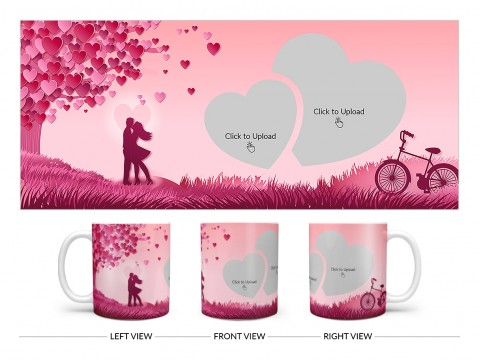 Young Couple In Love World Design On Plain white Mug