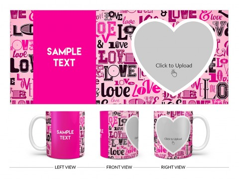 Different Love Proposal With Baby Pink Background Design On Plain white Mug