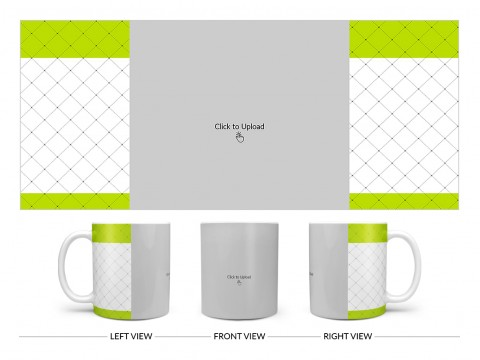 Green borders With Dotted Line Background Design On Plain white Mug