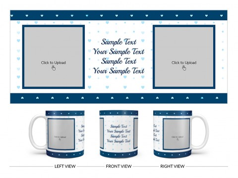 Dark Blue Love Symbols borders With Love Symbol Background Design On Plain white Mug