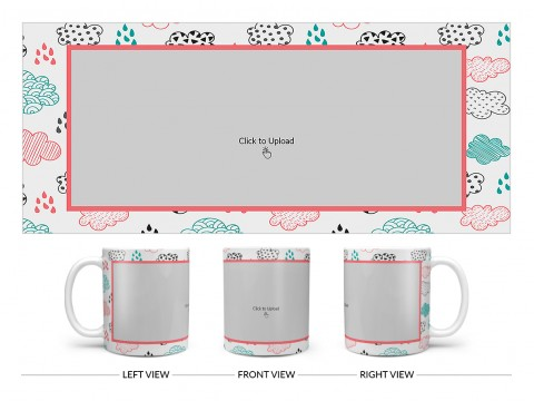 Clouds And Rain Drops Background With Large Single Pic Upload Design On Plain white Mug