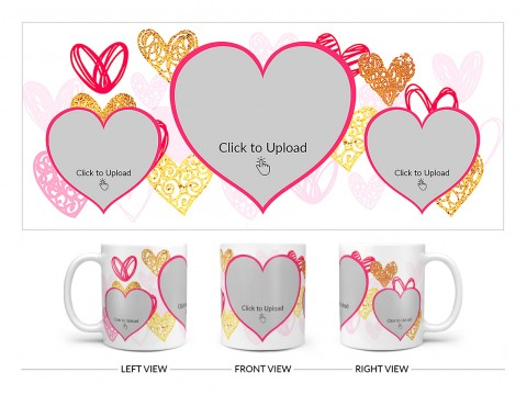 3 Heart Symbols Pic Upload With Golden Love Symbols Background Design On Plain white Mug