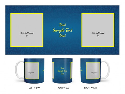 Dark Blue Flower Pattern Background With Yellow border Design On Plain white Mug
