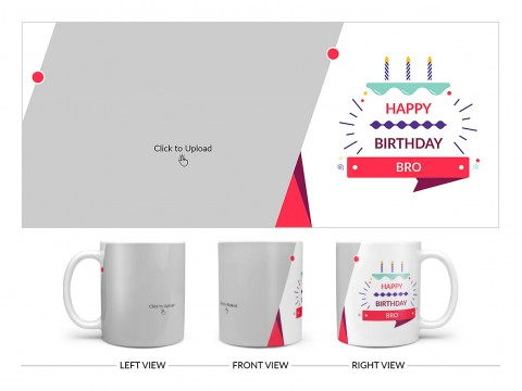 Brother's Birthday With White Background Design On Plain white Mug