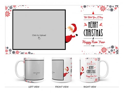 We Wish You A Very Merry Christmas Design On Plain white Mug