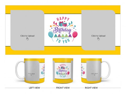Daughter Birthday With Yellow Borders Design On Plain white Mug