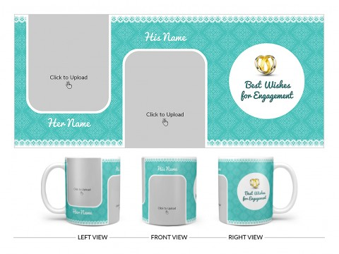 Best Wishes For Engagement With Couple Pic Upload Design On Plain white Mug