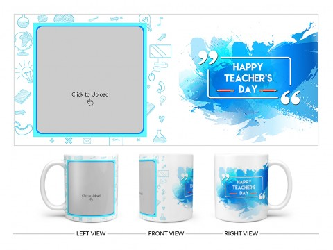 Happy Teacher's Day Design On Plain white Mug