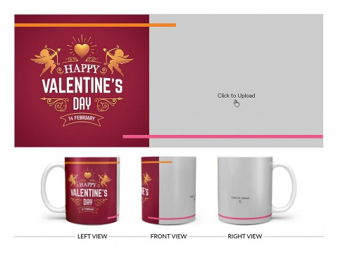 Happy Valentine's Day Design On Plain white Mug