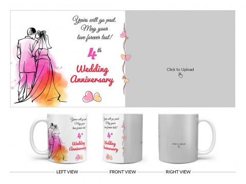 Wedding Anniversary Design On Plain white Mug