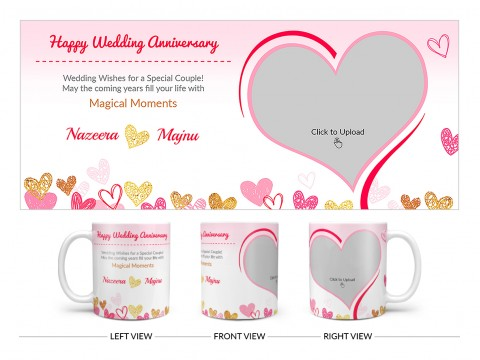 Happy Wedding Anniversary Design On Plain white Mug