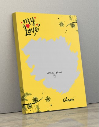 Yellow Color Love Portrait Canvas Frame - 10 x 14 Size