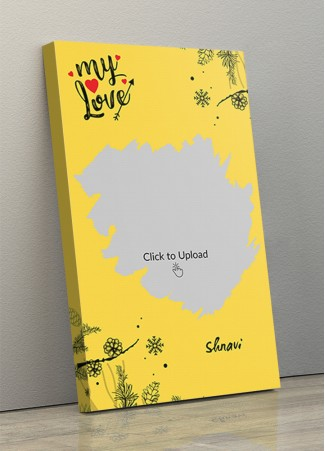 Yellow Color Love Portrait Canvas Frame - 10 x 17 Size