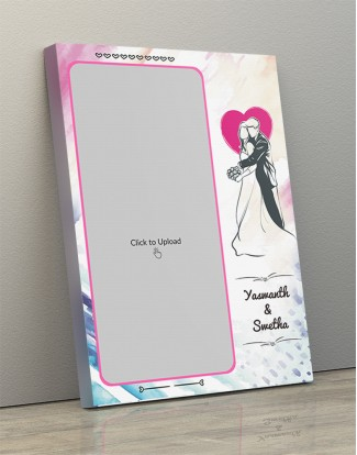Photo Canvas Frames 12x17 - Water Colors Background With Wedding Couple Design