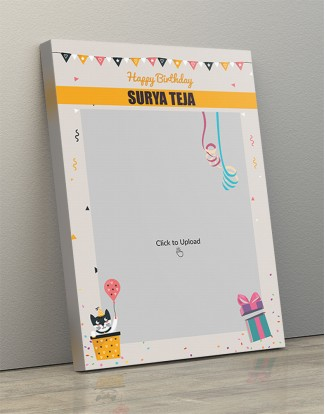 Photo Canvas Frames 12x17 - Birthday  Wishes With Pennants And Confetti  Design