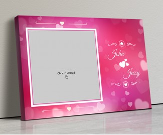 Photo Canvas Frames 14x10 - Pink Color Backgound  With Heart Symbols Design