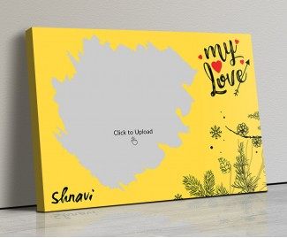 Yellow Color Love Landscape Canvas Frame - 14x10 Size