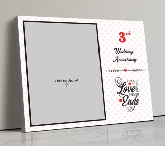 Photo Canvas Frames 14x12 - Love Story Never Ends Quotation With Heart Border Design