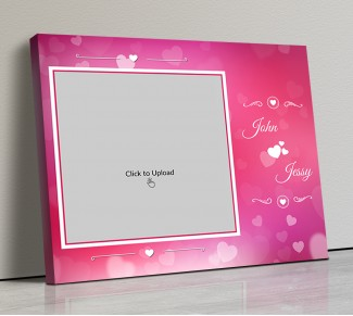 Photo Canvas Frames 14x12 - Pink Color Backgound  With Heart Symbols Design