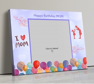 Photo Canvas Frames 14x12 - Happy Birthday Mom Wishes With Watercolor Balloons  Design