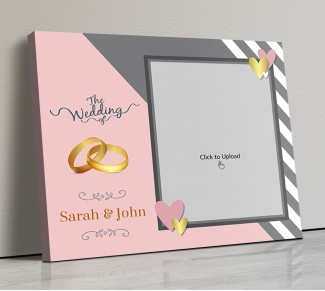 Photo Canvas Frames 14x12 - Golden Rings And Golden Hearts Design