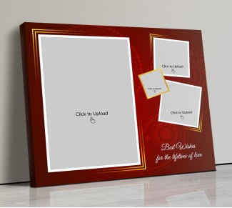 Photo Canvas Frames 14x12 - Maroon Background With Golden Frame Design
