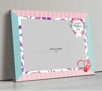 Photo Canvas Frames 14x12 - Happy Mother's Day Wishes With Floral Frame Design