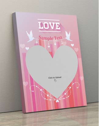 Photo Canvas Frames 14x20 - Pic Upload In Heart Symbol With Love Birds  Design