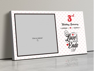 Photo Canvas Frames 17x10 - Love Story Never Ends Quotation With Heart Border Design