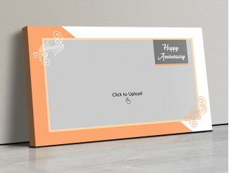Photo Canvas Frames 17x10 - Wedding Anniversary With Floral Frame Design