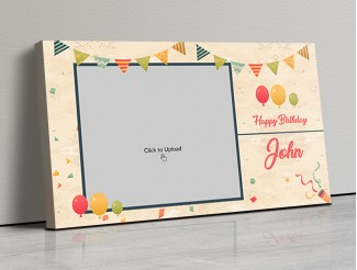 Photo Canvas Frames 17x10 - Birthday Wishes With Pennants And Balloons Design