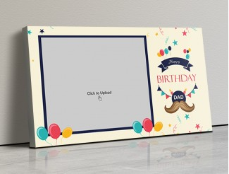 Photo Canvas Frames 17x10 - Happy Birthday Dad With Confetti Background Design