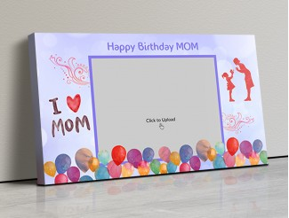 Photo Canvas Frames 17x10 - Happy Birthday Mom Wishes With Watercolor Balloons  Design