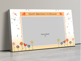 Photo Canvas Frames 17x10 - Happy Birthday Wishes With Confitte Design