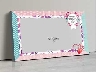 Photo Canvas Frames 17x10 - Happy Mother's Day Wishes With Floral Frame Design
