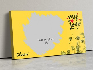 Yellow Color Love Landscape Canvas Frame - 17x10 Size