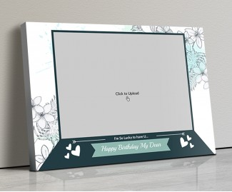 Photo Canvas Frames 20x14 - Hand Drawn Flowers Frame Design