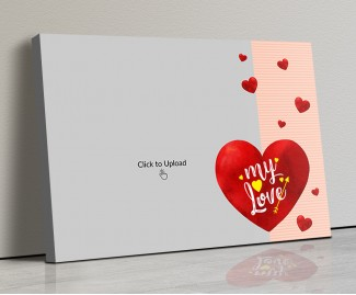 Photo Canvas Frames 20x14 - Red Hearts With Love  Design