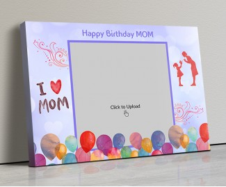 Photo Canvas Frames 20x14 - Happy Birthday Mom Wishes With Watercolor Balloons  Design