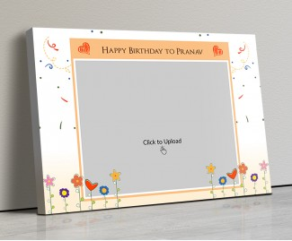 Photo Canvas Frames 20x14 - Happy Birthday Wishes With Confitte Design