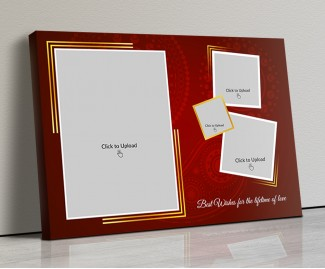 Photo Canvas Frames 20x14 - Maroon Background With Golden Frame Design