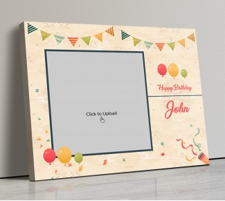 Photo Canvas Frames 20x17 - Birthday Wishes With Pennants And Balloons Design