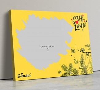 Yellow Color Love Landscape Canvas Frame - 20x17 Size