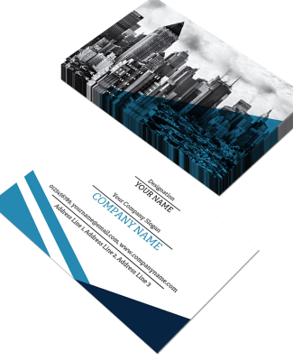 Blue Horizontal Double Side Business Card