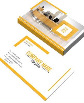 Yellow Horizontal Double Side Business Card